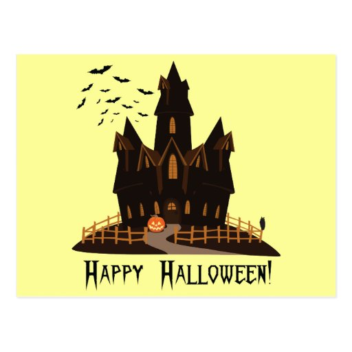 Casa encantada de Halloween Postal