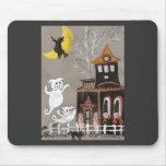 Casa encantada de los fantasmas del cerdo tapetes de ratón