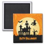 Casa encantada del claro de luna de Halloween en c Imán De Frigorífico