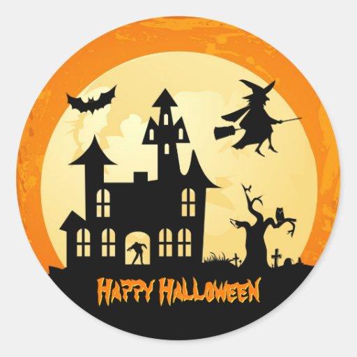 Casa encantada del claro de luna de Halloween en Pegatinas Redondas