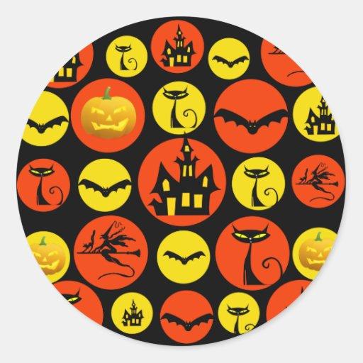 Casa encantada del modelo de lunar de Halloween de Pegatina Redonda