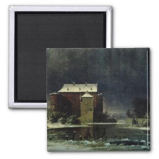 Casa encantada en la nieve, 1848 imán cuadrado