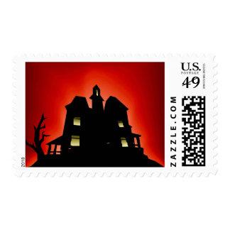 Casa encantada espeluznante de Halloween Sello