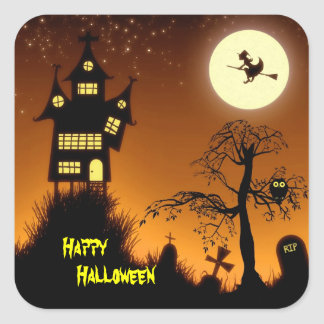 Casa encantada espeluznante Halloween decorativo Etiqueta