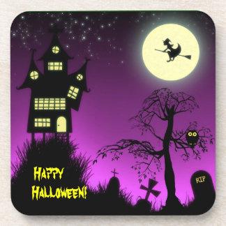 Casa encantada espeluznante Halloween decorativo Posavasos