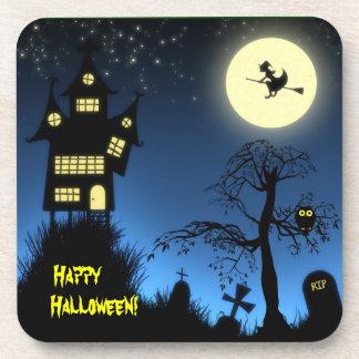 Casa encantada espeluznante Halloween decorativo Posavasos De Bebida
