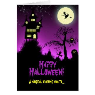 Casa encantada espeluznante Halloween Tarjeta Pequeña