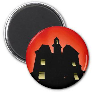 Casa encantada espeluznante imán redondo 5 cm