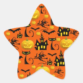 Casa encantada fantasmagórica de Halloween con el Calcomanías Forma De Estrellaes Personalizadas
