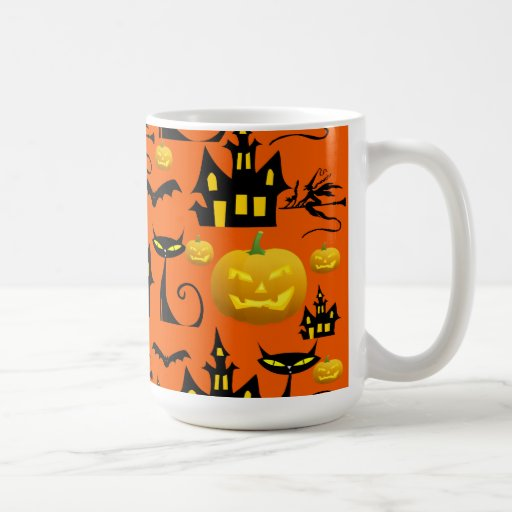Casa encantada fantasmagórica de Halloween con el  Tazas