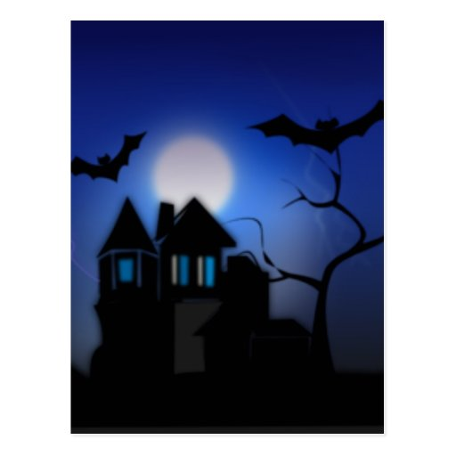Casa encantada fantasmagórica tarjetas postales