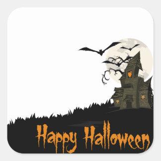 Casa encantada Halloween Calcomania Cuadrada Personalizada