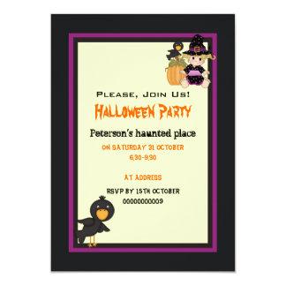 """Casa encantada linda de Halloween y pequeña bruja Invitación 5"""" X 7"""""""