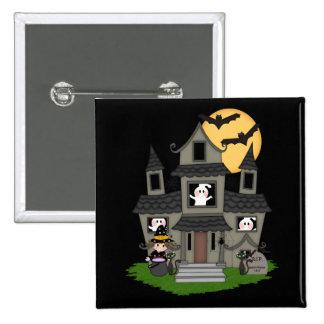 Casa encantada linda de Halloween y pequeña bruja Pin Cuadrada 5 Cm