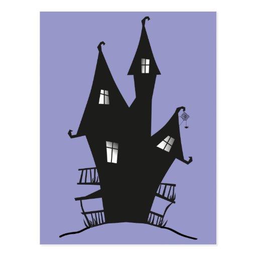 Casa encantada negra tarjetas postales