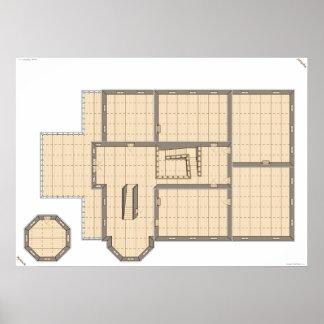 Casa encantada, segunda planta, un mapa del juego impresiones