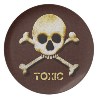 Casa encantada tóxica de Halloween del cráneo y de Platos