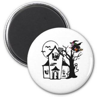 Casa encantada y bruja de Halloween Imán Redondo 5 Cm