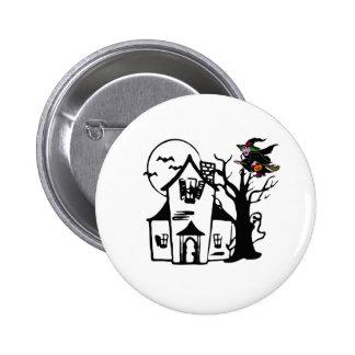 Casa encantada y bruja de Halloween Pin