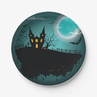 Casa fantasmagórica Halloween placa de papel de 7 Plato De Papel De 7 Pulgadas