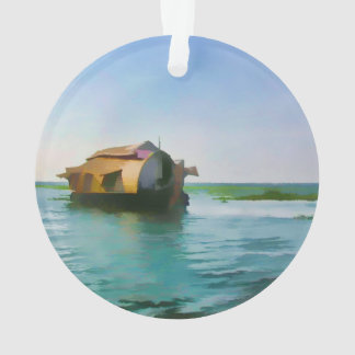 Casa flotante en Kerala en laguna del agua salada