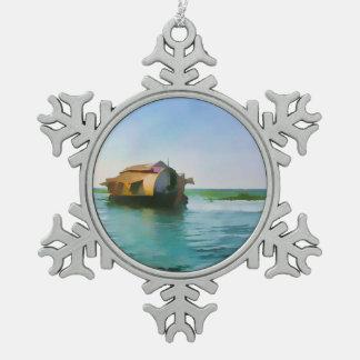 Casa flotante en Kerala en laguna del agua salada Adorno De Peltre En Forma De Copo De Nieve
