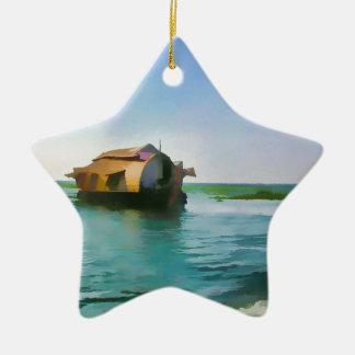 Casa flotante en Kerala en laguna del agua salada Adorno De Cerámica En Forma De Estrella