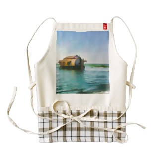 Casa flotante en Kerala en laguna del agua salada Delantal Zazzle HEART