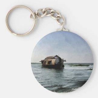 Casa flotante en Kerala en laguna del agua salada Llavero Redondo Tipo Pin