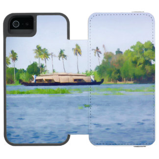 Casa flotante en Kerala en laguna del agua salada Funda Cartera Para iPhone 5 Watson
