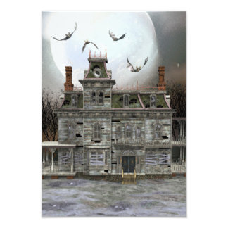 "Casa frecuentada 2 de Halloween Invitación 3.5"" X 5"""