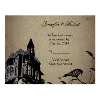 Casa gótica del vintage que casa la postal de RSVP