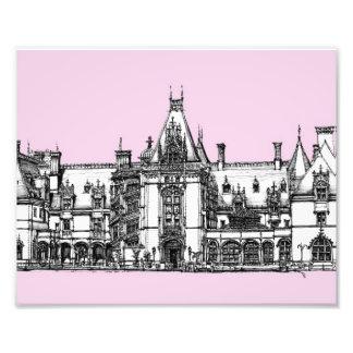 Casa gótica en rosa arte con fotos