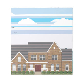 Casa grande del ladrillo con el paisaje stylized blocs de papel