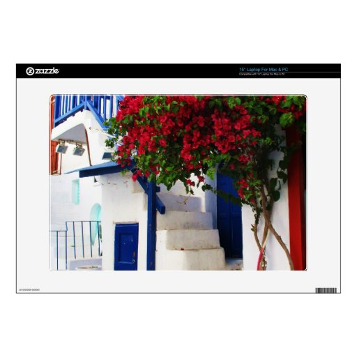 Casa griega lavada blanco rústico tradicional Myka Calcomanías Para 38,1cm Portátiles