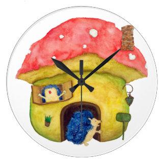 Casa hecha de erizo de las setas viva reloj redondo grande