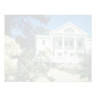 casa histórica blanca de Uniacke, flores de Nueva  Plantillas De Membrete