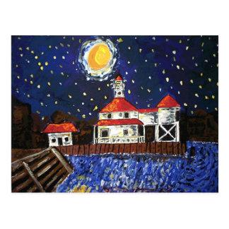 Casa ligera de la noche estrellada tarjetas postales
