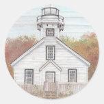 Casa ligera del viejo punto de la misión etiqueta redonda