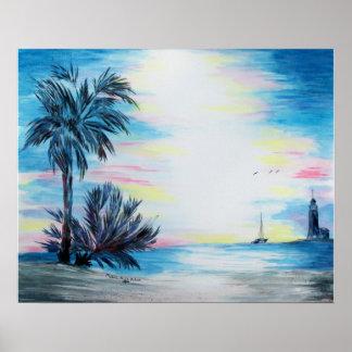 Casa ligera y palmeras en el poster de la playa