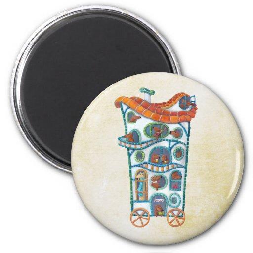 Casa mágica en las ruedas imán de frigorifico