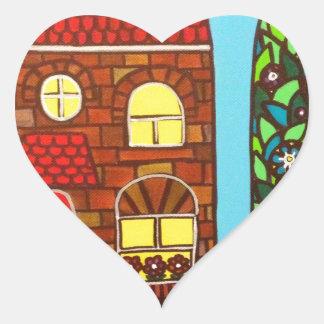 Casa minúscula pegatina en forma de corazón