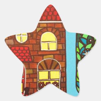 Casa minúscula pegatina en forma de estrella