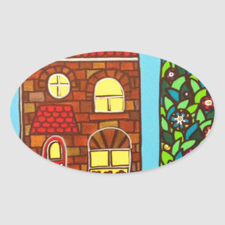 Casa minúscula pegatina ovalada
