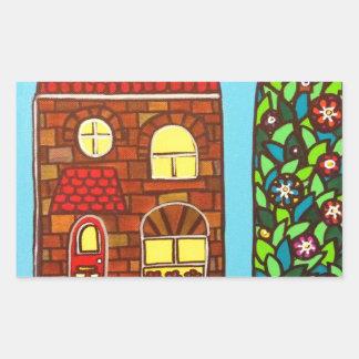Casa minúscula pegatina rectangular