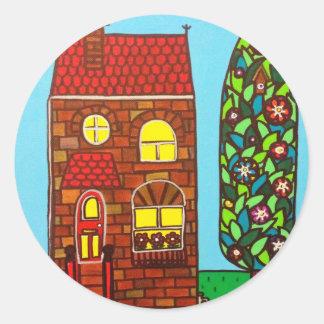 Casa minúscula pegatina redonda
