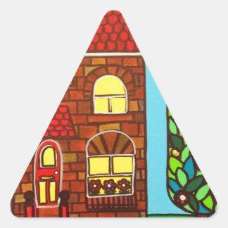 Casa minúscula pegatina triangular