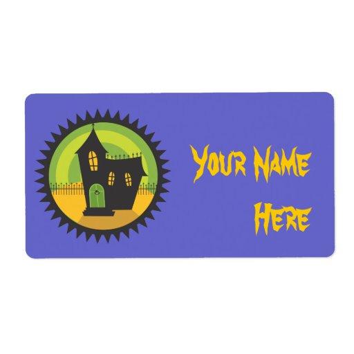 Casa negra en círculo negro etiqueta de envío