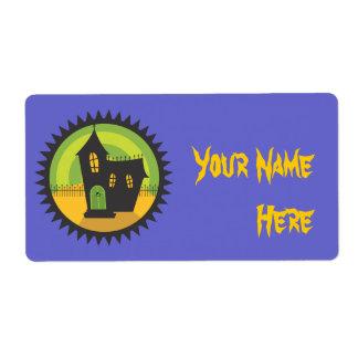 Casa negra en círculo negro etiquetas de envío