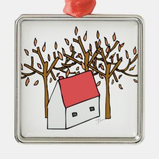 Casa otoño adorno navideño cuadrado de metal